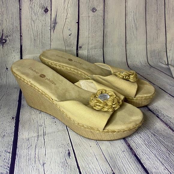 """Lindsay Phillips Beige 3"""" Wedge Sandal Size 9"""